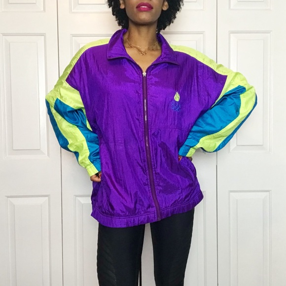 f8eeef4c15a251 Vintage Jackets & Coats | 90s Us Olympic Neon Colorblock Windbreaker ...